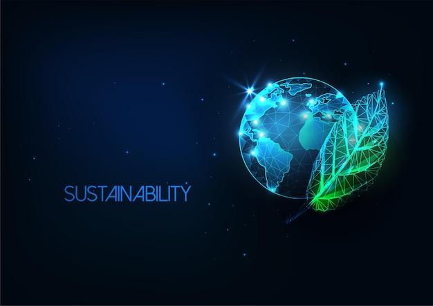 紺色の背景に分離された緑の葉を持つ未来的な環境保全の概念光る低ポリ地球地図。世界の環境保全の概念。