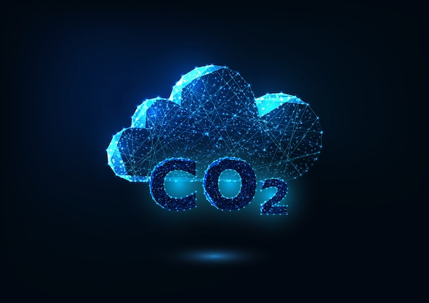 Futuristic exhaust gas emission concept with glowing carbon dioxide formula and abstract cloud