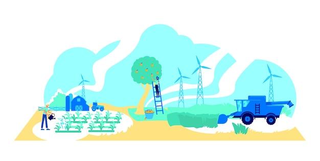 Futuristic farming flat concept illustration