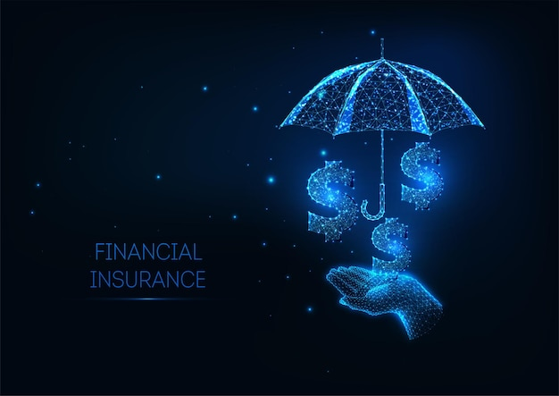 Futuristic finance insurance policy services concept with glowing low polygonal hand holidng umbrella and dollar signs.