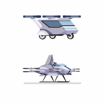 흰색 배경에서 격리하는 평면 만화 그림에서 승객 개념 미래의 비행 자동차 무인 항공기