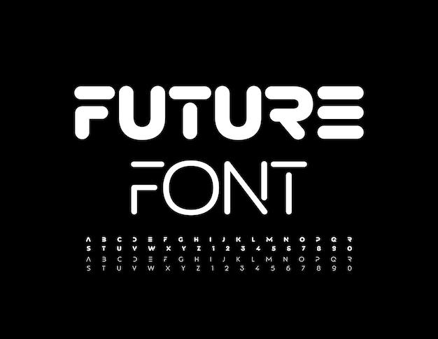 Футуристический шрифт простой белый алфавит в стиле техно жирным шрифтом и набором тонких букв и цифр