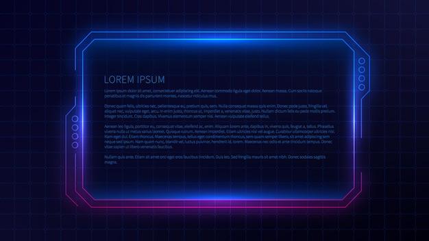 インターフェイスの未来的なフレームテンプレートデザイン。 ui、アプリ、ゲームの抽象的な熱烈な概念的なレイアウト。
