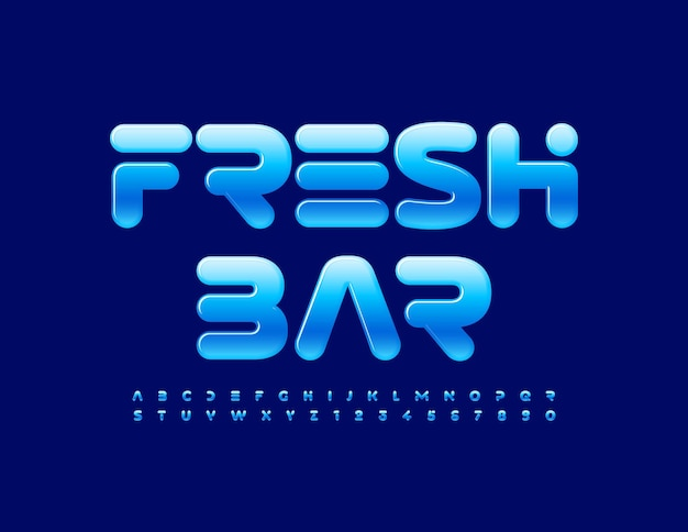 Futuristic fresh bar blue glossy font modern alphabet letters and numbers set
