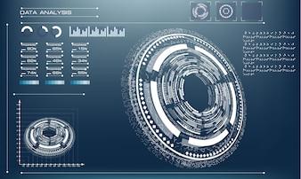 青色の背景に未来的な未来の輪