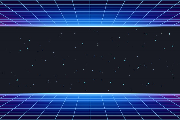 Futuristic galaxy background with neon laser grid
