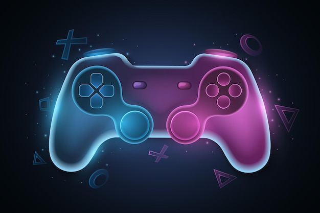 Futuristic game pad for video games. vector joystick with neon glow for game console. abstract geometric symbols. computer games concept for your design. eps 10