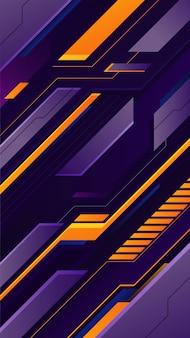 Футуристический игровой фон с фиолетовым и желтым градиентом