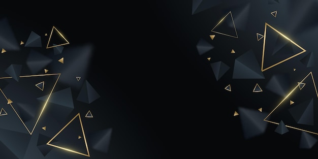 Futuristic, geometric background. black and golden 3d triangles. modern design for template, cover, banner, brochure. decorative, polygonal shapes with blur. vector illustration. eps 10