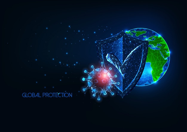 Futuristic global medical protection from infectious coronavirus covid-19 disease concept