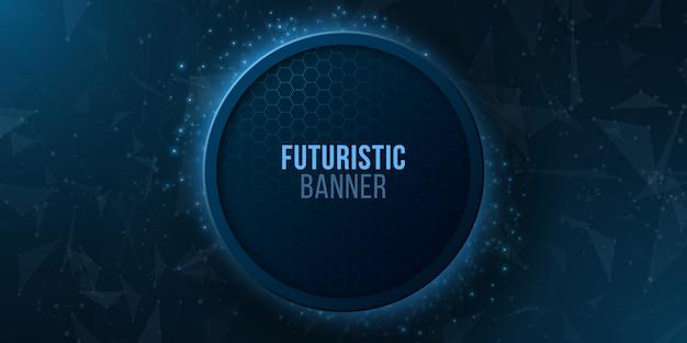 明るい幾何学的粒子と未来的な光るバナー。モダンなデザイン。神経叢スタイル。