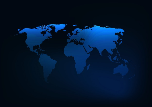 Futuristic glowing dark blue world map silhouette.