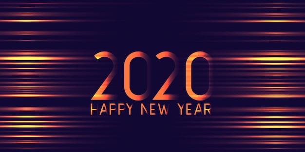 Futuristic glowing happy new year banner