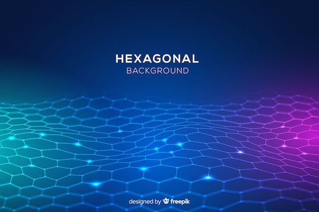 Futuristic glowing hexagonal net background
