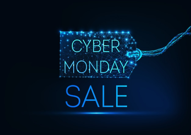 Futuristic glowing low poly cyber monday concept on dark blue background