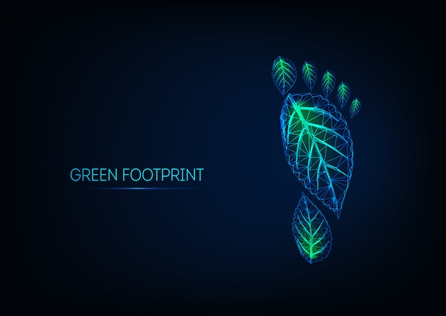 Futuristic glowing low poly human footprint made of green leaves isolated on dark blue
