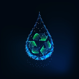 Futuristic glowing low poly water drop with recycle sign inside