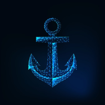 Futuristic glowing low polygonal anchor isolated
