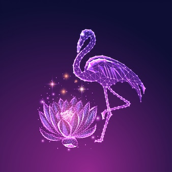 Futuristic glowing low polygonal beautiful standing flamingo and lotus flower isolated on dark blue to purple background.