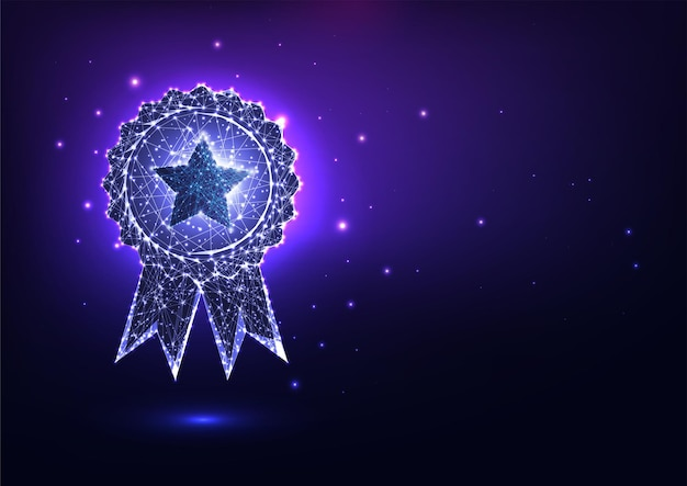 Futuristic glowing low polygonal best quality award badge concept