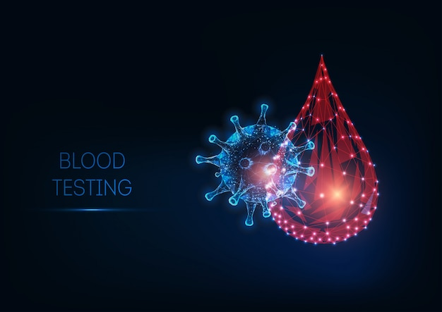 Futuristic glowing low polygonal blood testing concept