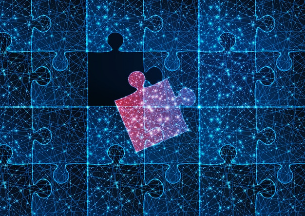 Futuristic glowing low polygonal blue jigsaw puzzle game with one red matching missing piece.