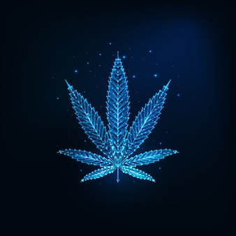 Futuristic glowing low polygonal cannabis leaf