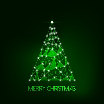 Futuristic glowing low polygonal christmas tree for merry christmas greeting card