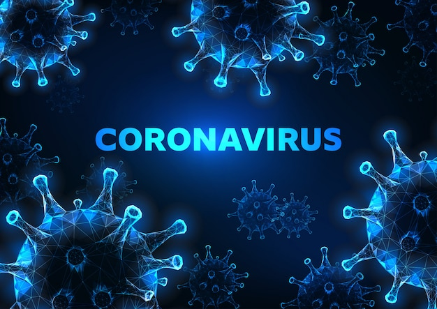 Futuristic glowing low polygonal coronavirus cells