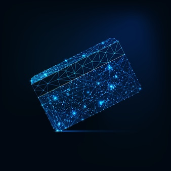 Futuristic glowing low polygonal credit card isolated on dark blue background.