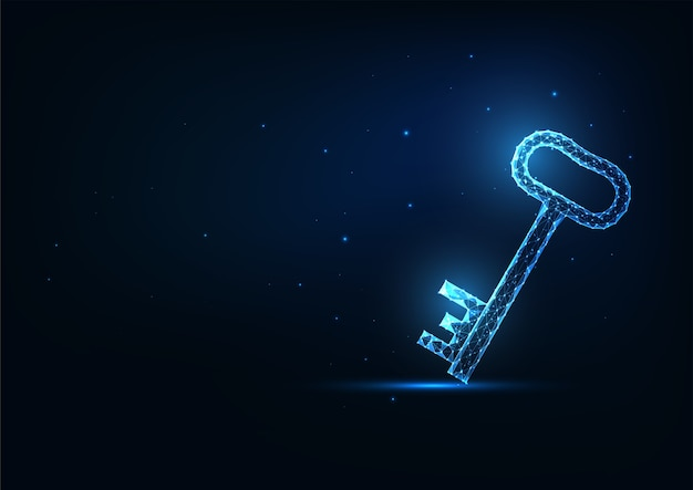 Futuristic glowing low polygonal door key isolated on dark blue background.