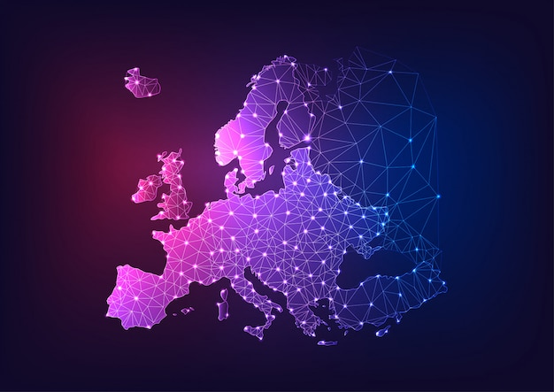 Futuristic glowing low polygonal europe continent map on dark blue and purple background.