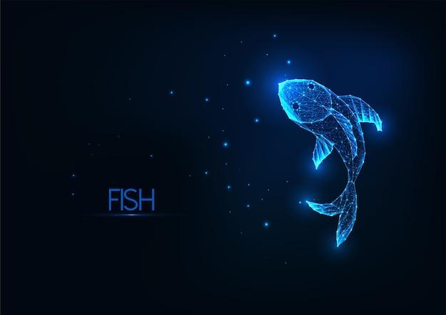 紺色の背景に分離された未来的な輝く低多角形の魚。