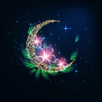 Futuristic glowing low polygonal golden crescent moon decorated with pink flowers and green leaves