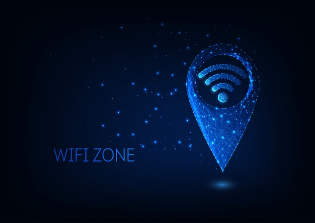 Futuristic glowing low polygonal gps and wifi symbols isolated on dark blue background.