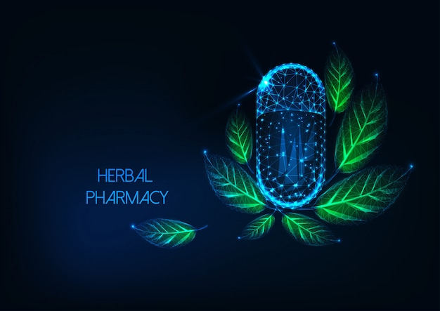 カプセルの丸薬と緑の葉を持つ未来の輝く低多角形薬局コンセプト。