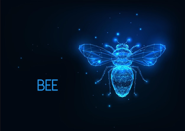 Futuristic glowing low polygonal honey bee isolated