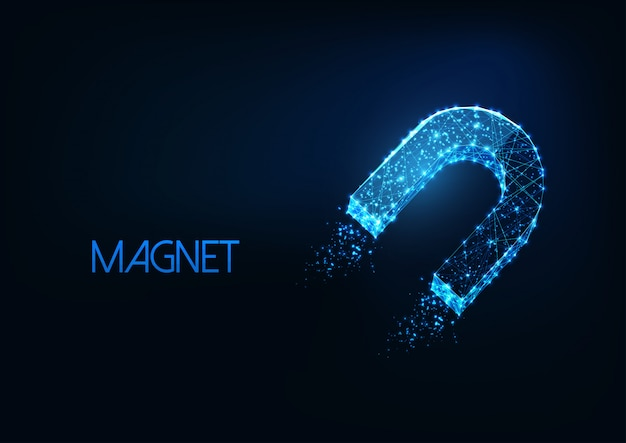 Futuristic glowing low polygonal horseshoe magnet