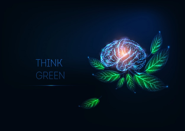 Futuristic glowing low polygonal human brain and green leaves on dark blue background.