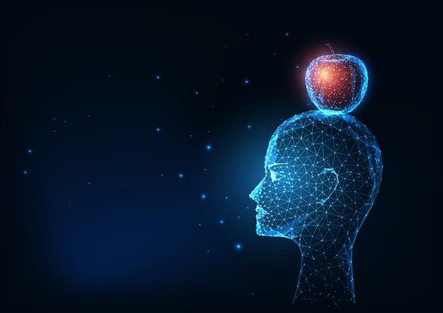 未来の輝く低ポリゴンの人間の頭と暗い青色の背景に分離された赤いリンゴ。モダンなワイヤーフレームメッシュの図。