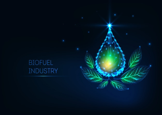 Futuristic glowing low polygonal liquid oil drop and green leaves on dark blue background.