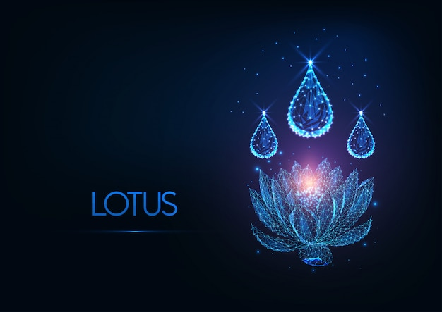 Futuristic glowing low polygonal lotus water lily flower with water drops in dark blue