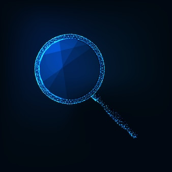 Futuristic glowing low polygonal magnifying glass