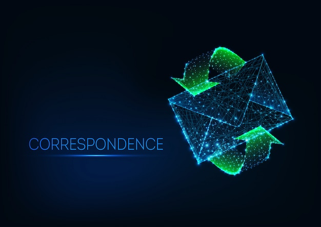 Futuristic glowing low polygonal mail envelope with green motion arrows on dark blue background.