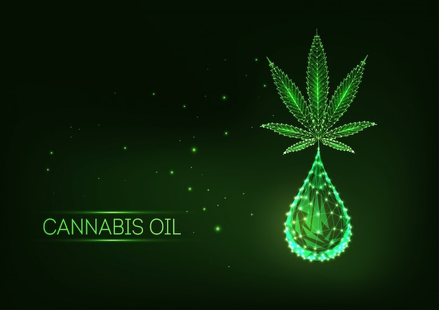 Futuristic glowing low polygonal medical cannabis leaf with drop of cannabidiol.