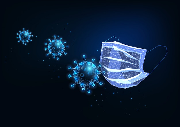 Futuristic glowing low polygonal medical protective mask and coronaviruses on dark blue background
