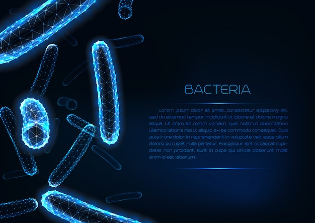 Futuristic glowing low polygonal medicine web banner template with 3d bacilli bacteria.