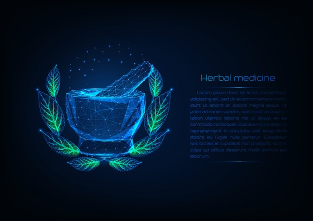 Futuristic glowing low polygonal mortar an pestle surrounded by wreath with green leaves.