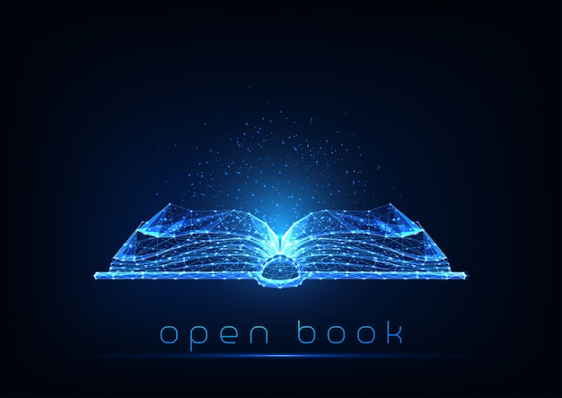 Futuristic glowing low polygonal open book isolated on dark blue background.