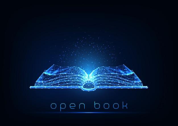暗い青色の背景に分離された未来の輝く低多角形開いた本。